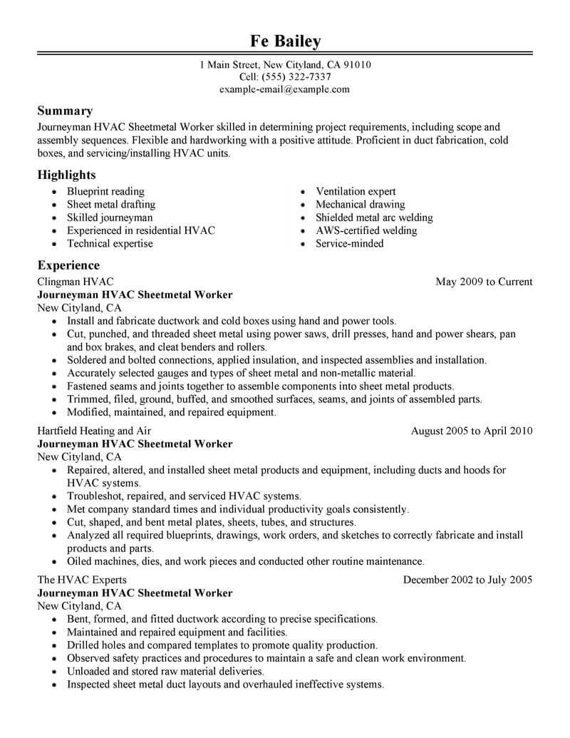 sheet metal worker resume examples