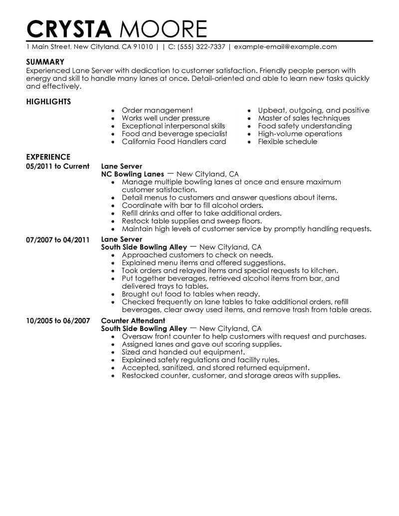 resume for server qualifications example