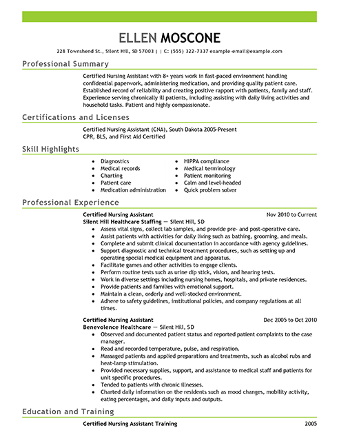 nursing resumes examples