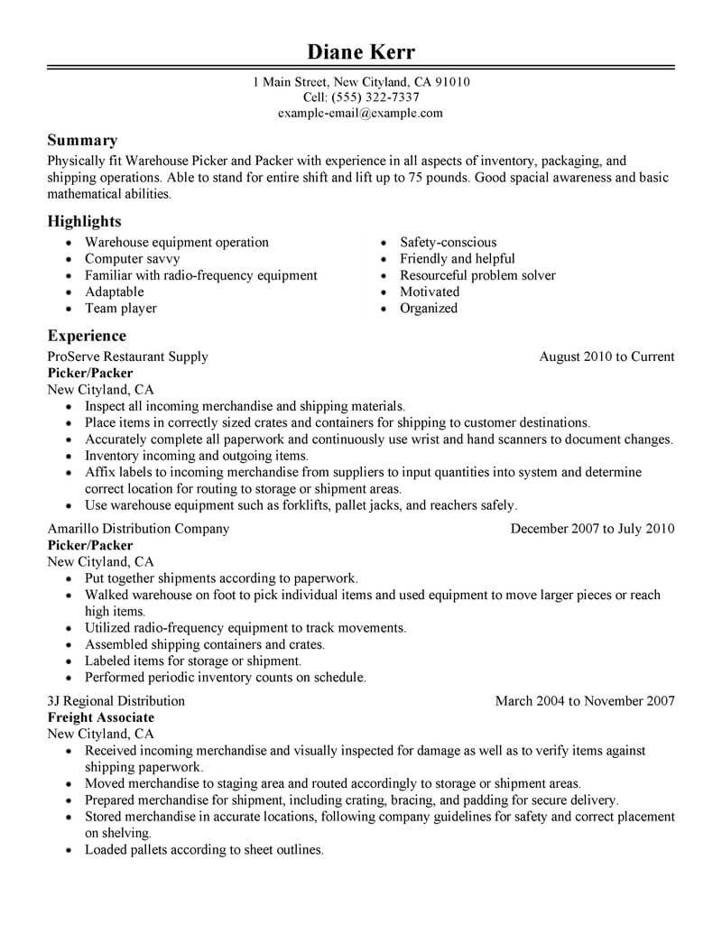 loading and packing resume samples