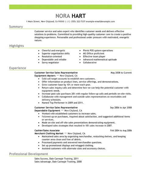 Best Customer Service Representatives Resume Example From