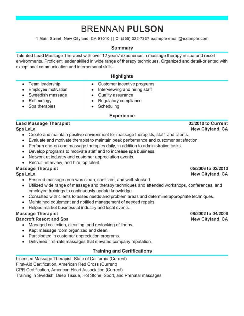 resume description for therapists