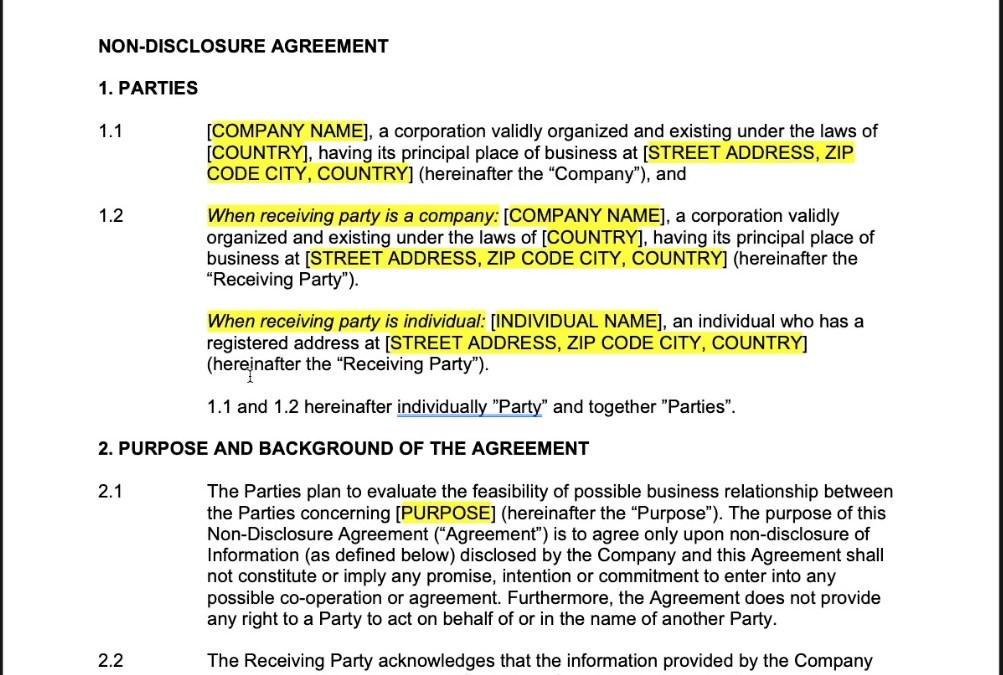 Non-disclosure Agreement (One-sided)