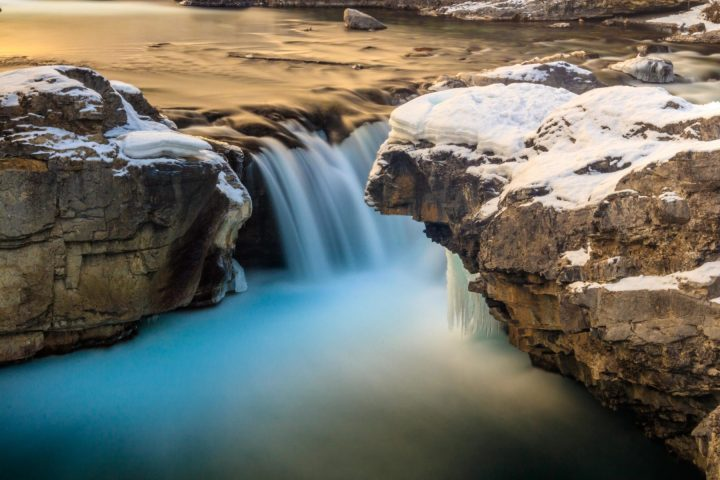 Winter Elbow Falls Waterfall