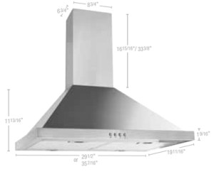 52030170 Pyramidal wall-mounted hood 30""