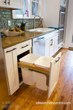 The garbage pull-out helps keep kitchens clean and orderly.