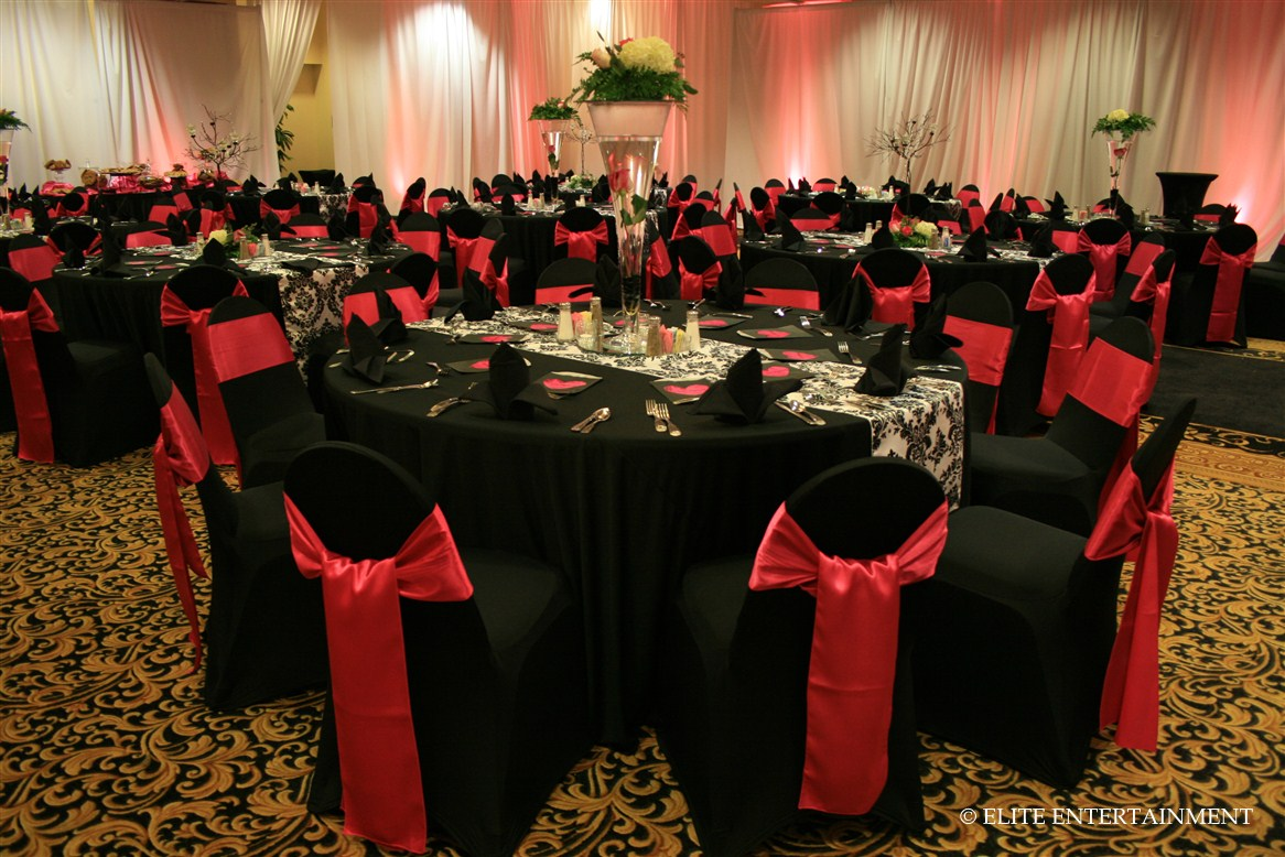dark red chair sashes how to recover a dining room back erin and ben 11 5 hilton elite entertainment bridal