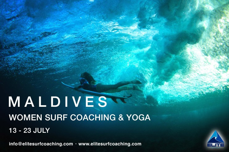 Elite Surf Coaching Maldives Women's Surf Coaching Trip July flyer