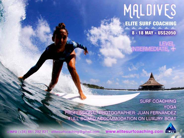Elite Surf Coaching Maldives Women's Surf Coaching Trip flyer