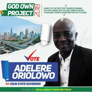 Engineer Adelere Oriolowo For Governor