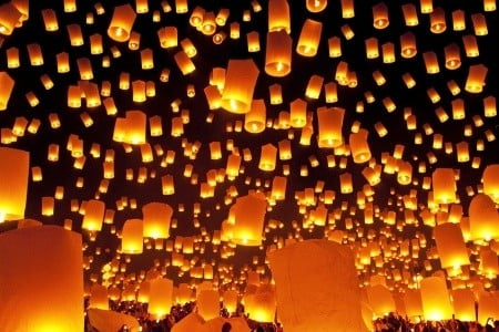 Loy Krathong lanterns-  Beautiful huh?
