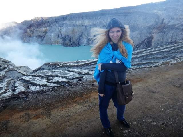 Elena at Ijen Volcano