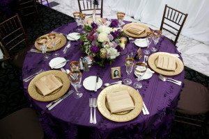 purple and gold wedding table