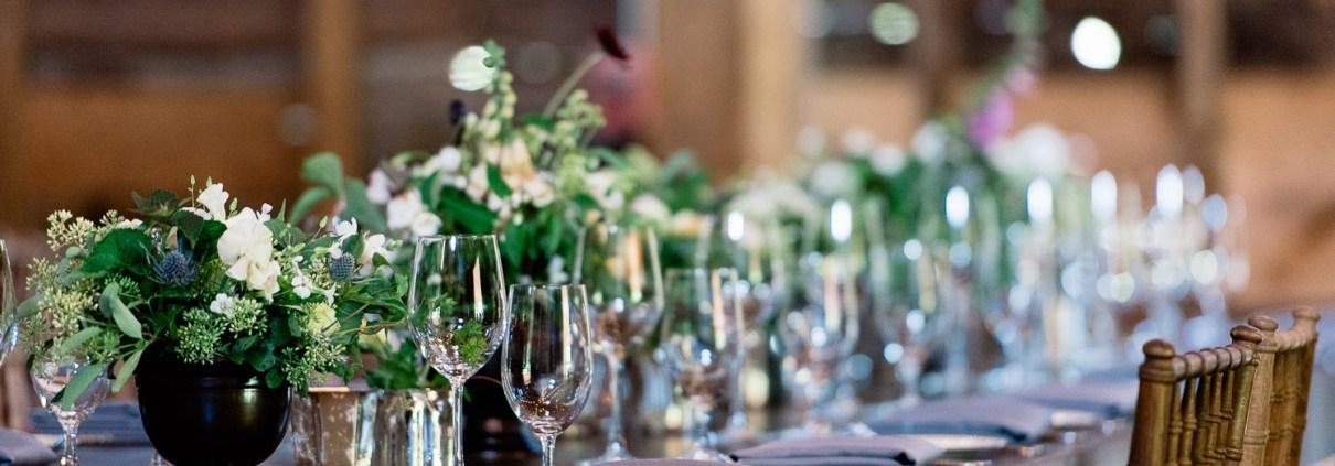 reception farm tables - handsome hollow barn wedding