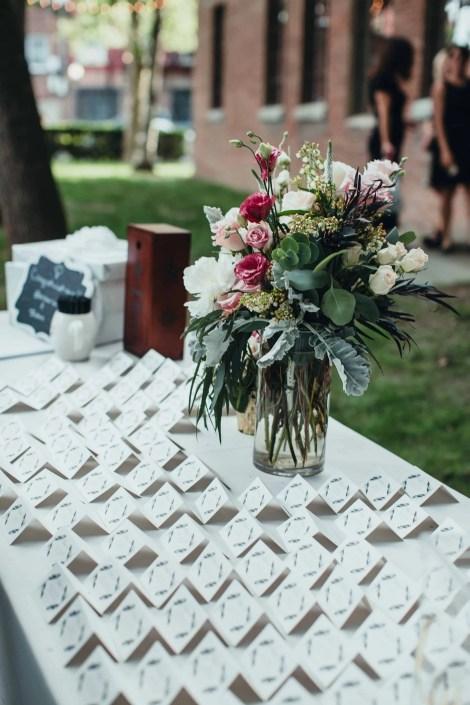 romantic wedding flowers and escort cards senate garage
