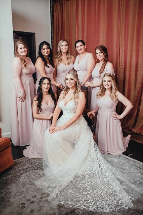 bridal party - romantic blush summer wedding att the senate garage