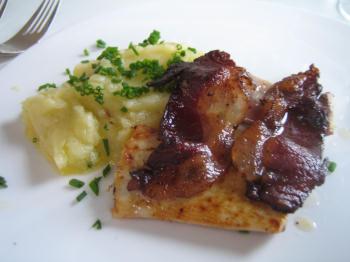 Smoked eel, bacon and mash