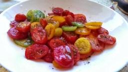 Nine varieties of Isle of Wight tomatoes, oil, salt and pepper