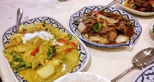 Prawns in coconut cream and beef stir-fried with chillies