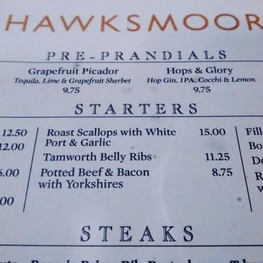 Hawksmoor menu