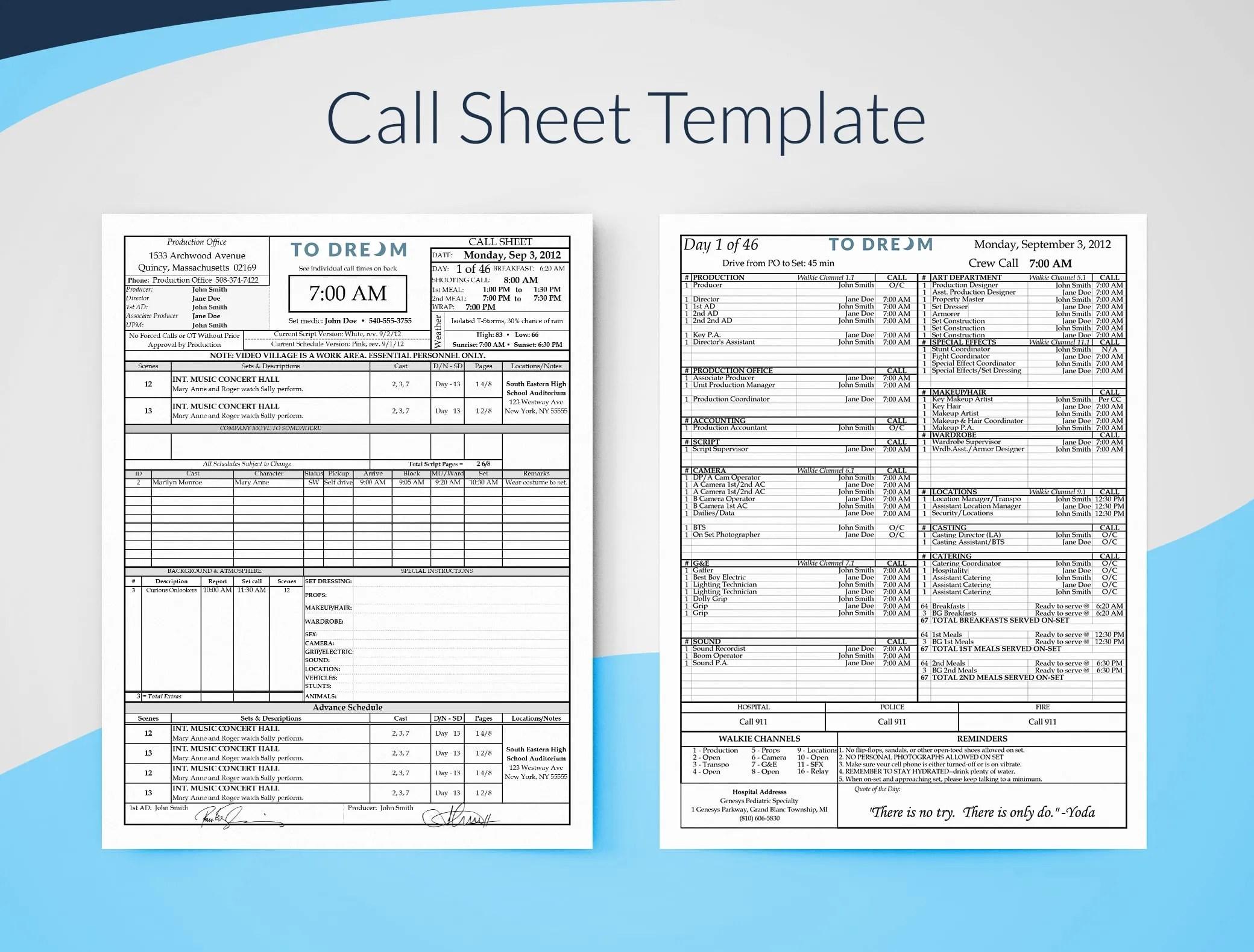 medium resolution of professional film call sheet template