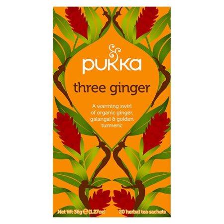 Pukkas økologiske ingefærte er en krydret urtete. Den er certificeret med Fair for Life og FairWild. Køb din økologiske te og wellnessprodukter hos Elixira.
