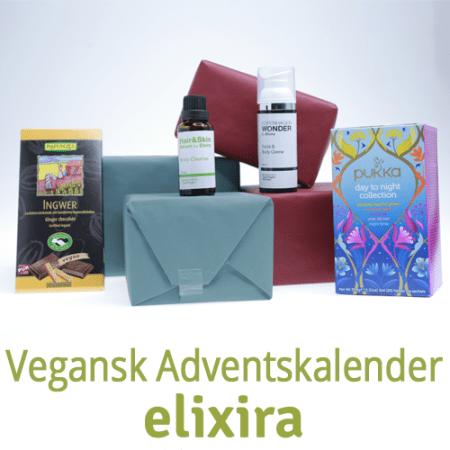 Den veganske adventskalender fra Elixira indeholder både lækre produkter til indtagelse og til at smørre på huden. Alle produkter er uden skadelige tilsætningsstoffer og lever op til Elixira's vision om rene produkter.