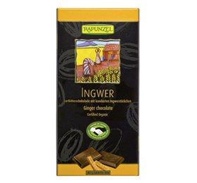 Økologisk mørk chokolade med kandiseret ingefær fra Rapunzel. Køb din veganske og økologiske chokolade hos Elixira.