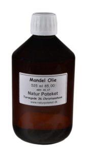 Mandelolie 525 ml er en mild og lækker olie. Kan bruges topisk eller som baseolie til din egen hudpleje fremstilling.