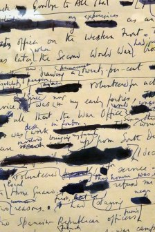 redacted letter from the war in the Cardiff museum in Wales
