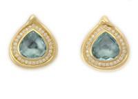 Aquamarine and Diamond Earrings - Elizabeth Gage
