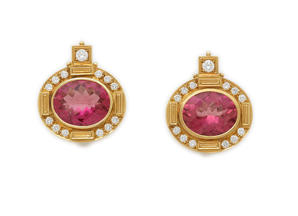 Rubellite Persian Queen Earrings