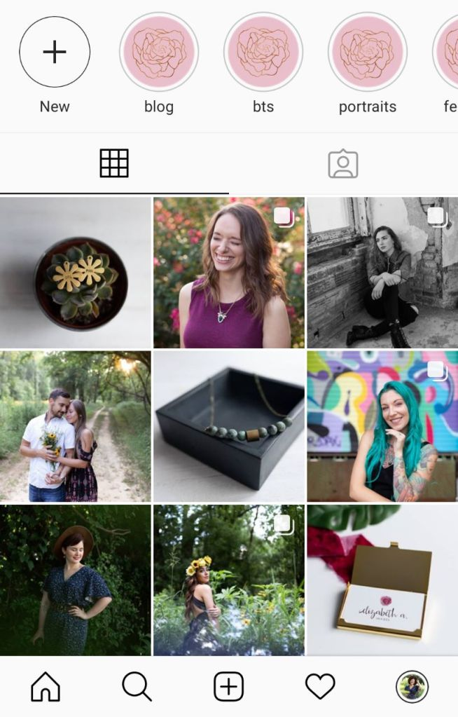 the first nine of my Instagram home feed. Elizabeth A. Images