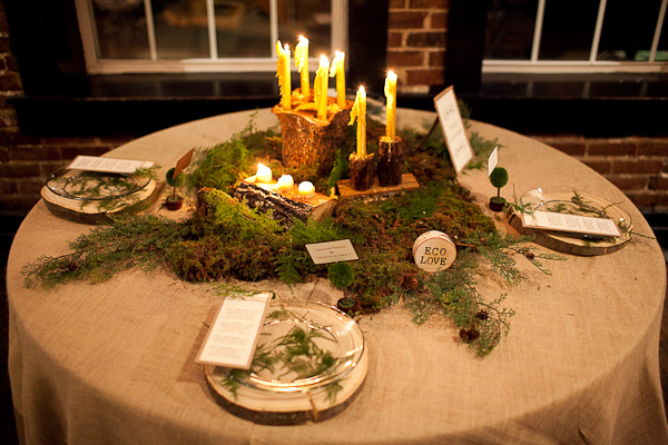 Rustic Moss And Wood Wedding Centerpiece And Tablescape