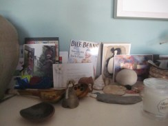 Postcards and other things on the mantlepiece