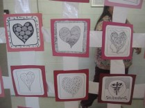 Close up of some of the hearts in the quilt