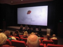 The film-makers, the screen and some of the audience