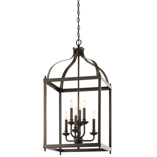 Kichler Larkin Olde Bronze Six Light Cage Foyer Pendant