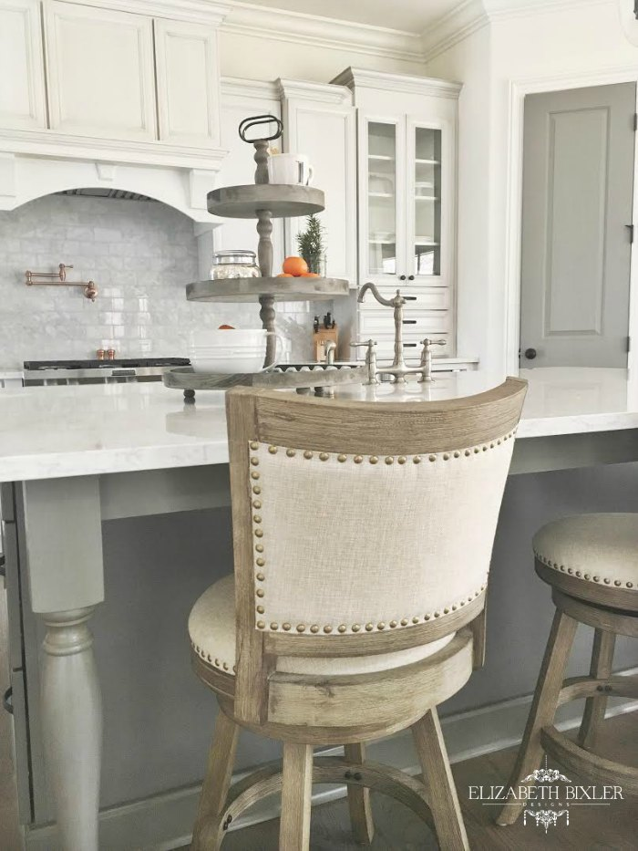 Fancy Belgian Linen and Wood Counter Stool