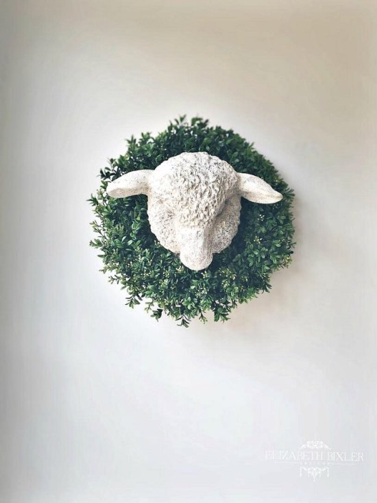 antique lamb's head wall decor