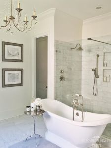 Carrara Marble floor and subway tile
