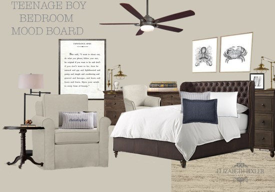 bedroom mood board for teenager to man