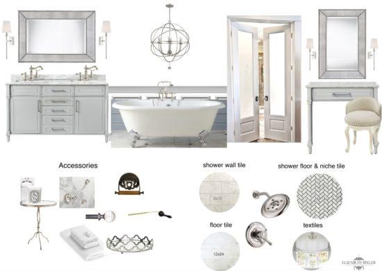 white bathroom mood board
