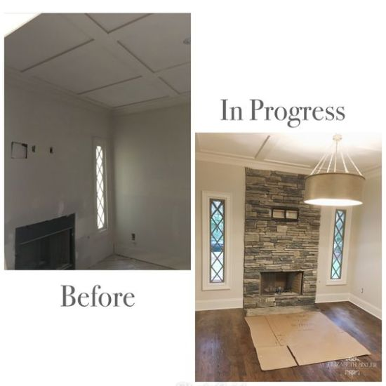 office, french tudor, young 6 light pendant, stone fireplace ,