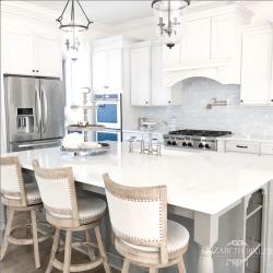 white cabinets, grey kitchen island, quartz countertops