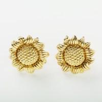 18kt Gold Sunflower Earrings - Elizabeth Bruns, Inc.