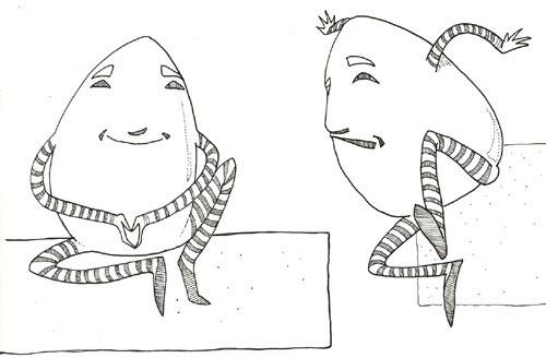 Humpty Dumpty; pencil on paper