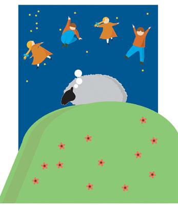 Sheep asleep on hill, dreaming of children