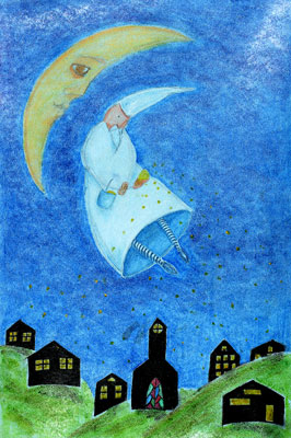 Man with nightcap floating by moon