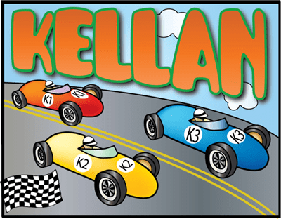Child's name with vintage race car track